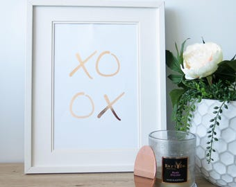 Real Gold Foil | XO | Gold Foil Print | Gold Wall Art | Gold Foil Quote | Home Decor | Typography | Office Decor