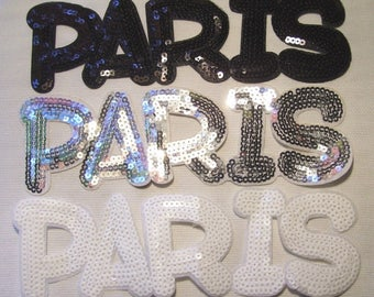 Great Thermo sequin patch badge - letter word PARIS * 8 x 24 cm *.