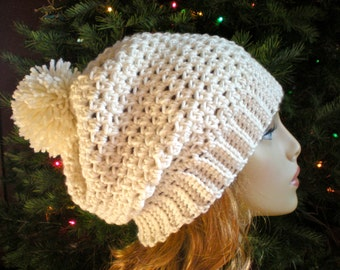 PATTERN:  Snow Bunny Hat, easy crochet, slouch beanie, adult, PDF, textured slouchy hat with pom pom, InsTanT DownLoaD, Permission to Sell