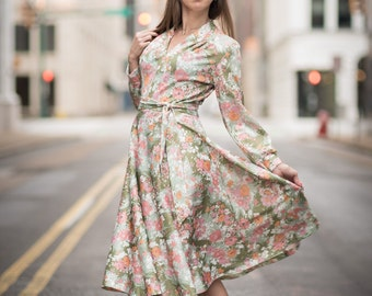 Vintage Pink And Green Floral Belted Dress (Size Medium)