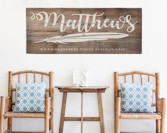 Weathered Farmhouse Sign | Large Last Name Sign | Family Established Sign | Personalized Family Name sign | Housewarming Gift | Wedding Gift