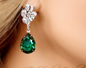 Emerald Green Bridesmaid Earrings - Swarovski Pear Shaped Stones available in other colors