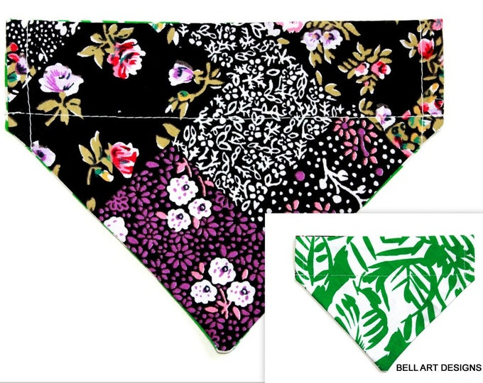 DOG BANDANA ~ Over the Collar ~ Reversible ~ Floral ~ Bell Art Designs ~ Small 428