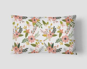 """Sprigs and Blooms // Decorative Pillow Cover 12""""x18"""" // Lumbar Pillow // Rectangular Throw Pillow"""