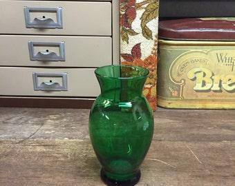Vintage Vase Anchor Hocking Green Glass
