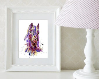 Colorful horse illustration / Small sizes / Art print / Blue, purple and yellow / Wall art