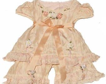 Victorian girls dress, Silk Girls Capri Set,  Silk Girls Dress and Pantaloon Set, Silk Girls Dress
