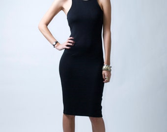 Black Ponte Dress / Midi Dress / Party Dress / Sheath Dress / Racer Back and Front Dress / Casual Dress /  Marcellamoda - MD0081