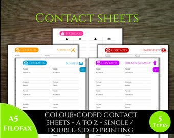Contacts - Colourful Classic style -  A5 ideal for filofax