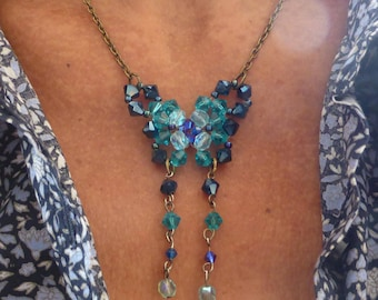 Butterfly swarovski crystal necklace