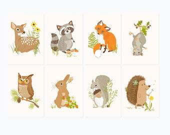 Woodland wall art - art for kids - nursery wall decor for baby, baby shower, deer, raccoon, fox, opossum, owl, bunny, squirrel, hedgehog
