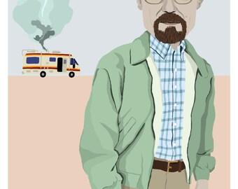 Walter White, Breaking Bad A4 Illustration Print