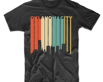 Vintage Retro 1970's Style Oklahoma City Cityscape Downtown Skyline T-Shirt by Really Awesome Shirts