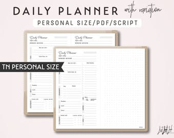 PERSONAL Size Daily Planner with variation - Printable Traveler's Notebook Insert - Script Theme
