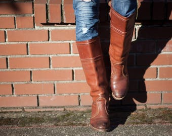 Leather Boots 80's Frye Cowboy Ladies Size 8.5 Cowgirl Western Boots, Made in the USA Vintage Ladies Light Brown Leather Boots with Heel