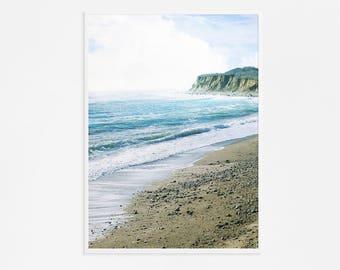 Photographie de la grande plage / / grand Art mural / / nautique Decor / / océan couleurs impression / / grand salon Art de mur pour maison moderne «Sérénité»
