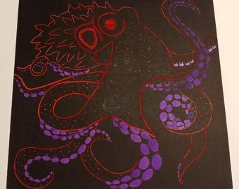 Hand Cololured Octopus Lino Print