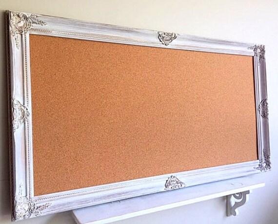 Large Framed Cork Board Decorative Pinboard Vintage White