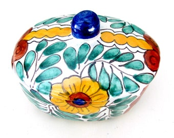 Pottery Covered Trinket Dish // Ethnic Mexican Two Piece Oval Clay