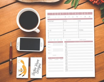 Daily Agenda Daily Planner Printable Planner To Do List Daily Schedule Day Planner Daily Organizer Instant Download Desk Planner Pages