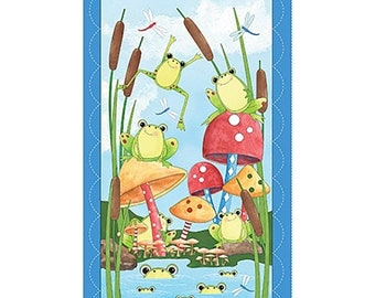 20 % off thru 5/31 IT'S a POND Party-Fabric Panel Quilting Treasures- cotton panel 23 by 44 inches- bugs, frogs, cattails, toadstools~24914X
