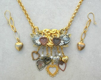 Lots o' Lovin' Hearts- Detachable Gold & Silver Heart Pin, Gold Chain, Wear Pin or Chain Separately, Versatile Necklace Set by SandraDesigns