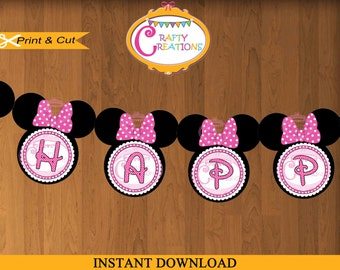 Minnie Mouse Banner - Printable Pink Minnie Mouse Party Banner - Minnie Mouse Birthday - Happy Birthday Banner - INSTANT DOWNLOAD -CraftyCre