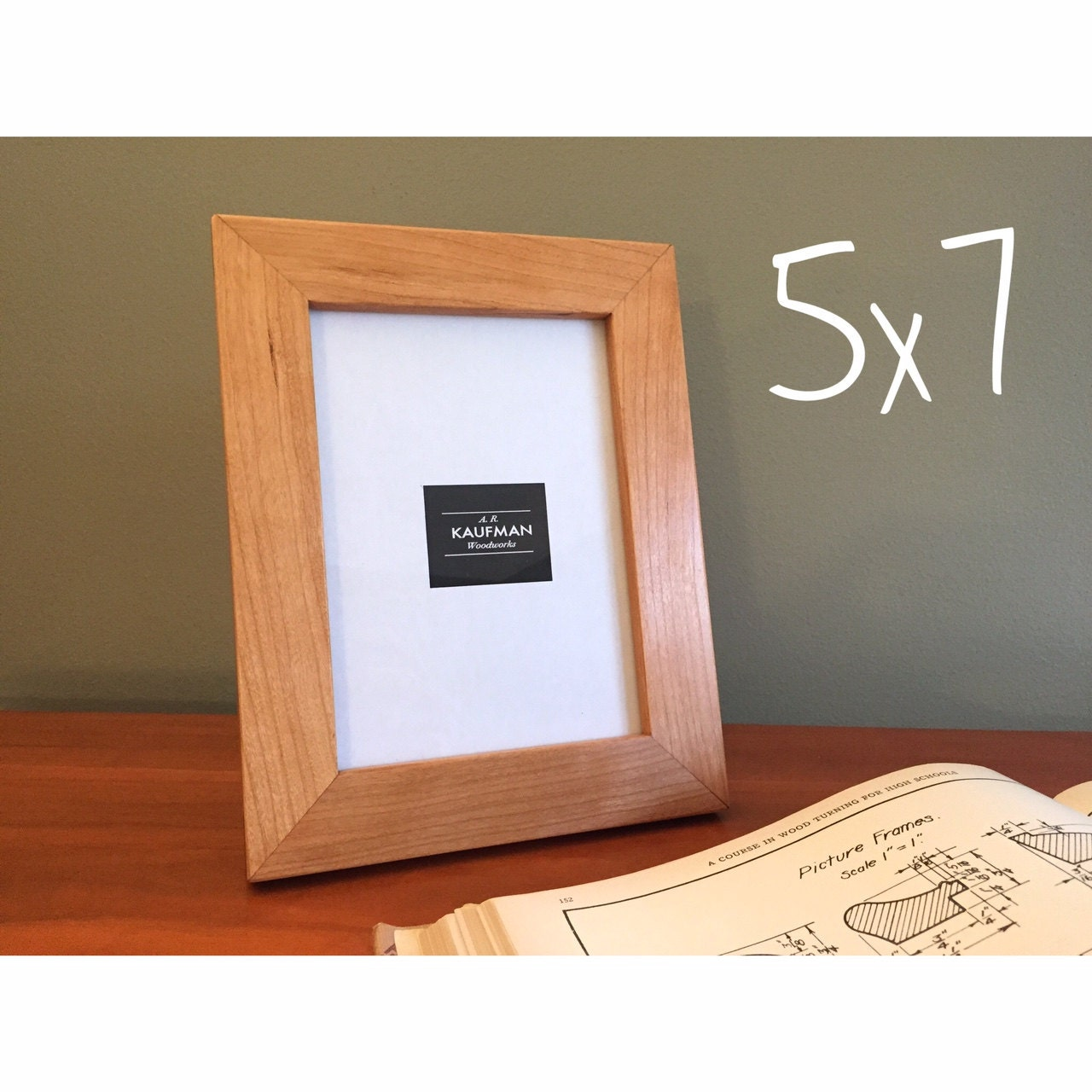 5x7 wooden picture frame cherry wood with walnut splines 6575 jeuxipadfo Choice Image