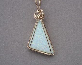 Opal Pendant -- Triangular Opal in 14K Gold-Filled Wire (Lab-Created Opal)