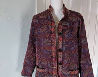 Gorgeous Paisley Floral Purple and Rainbow Colorful Tapestry Jacket Size large