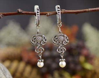 Scottish handmade earrings Thistle. Celtic Pagan Earrings. Witchcraft Jewelry. Scottish earrings. Nordic Jewelry. Luckenbooth. Scotland