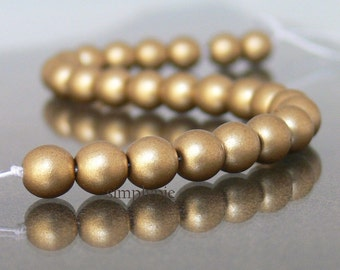 Satin Gold, Czech Druk Beads, 6mm 25 Smooth Round Matte Gold Beads