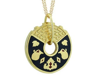 14K Gold Pendant with Black Enamel
