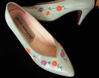 Floral Embroidered Pale Aqua Leather Pumps High Heels Made in Spain Item #51 Shoes