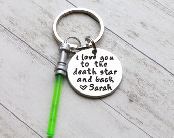 "I Love You to the Death Star and Back Hand Stamped 1"" Aluminum Keychain, Star Wars Keychain, Force, Lightsaber Keychain Husband Valentine's"