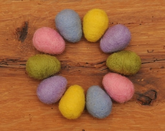 Felted Eggs, Set of 10 Small Pastel Wool Needle Felted Easter Eggs with optional Nest