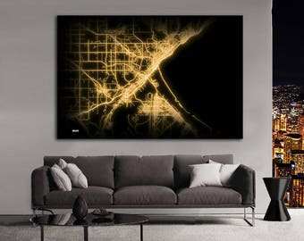 DULUTH Minnesota Night Lights Map Large Horizontal Wall Art Map Duluth MN Modern Art Neon City Street Map of Duluth NLM
