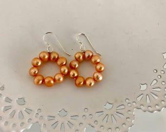 Peach Pearl Hoop Earrings   Pearl Statement Earring   Fresh Water Pearl Earrings   Circle Pearl Earrings   Pearl Earring