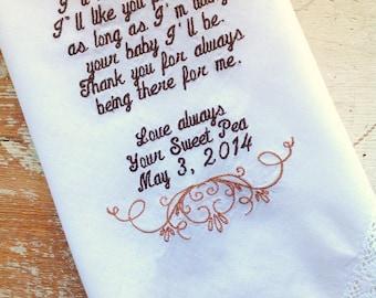 mom from Bride wedding handkerchief