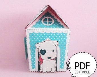 Bull Dog House Gift Box – Printable PDF Download