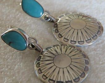 Turquoise Earrings Indian Genuine Handcrafted Post Stud Earrings