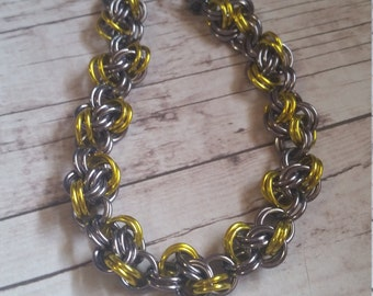 Yellow and gunmetal double cloud chainmaile bracelet