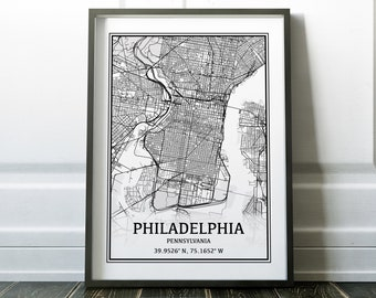 Philadelphia Map, Philadelphia PA Map of Philadelphia Poster, Philadelphia City Philadelphia Street Map Philadelphia, Philadelphia Print