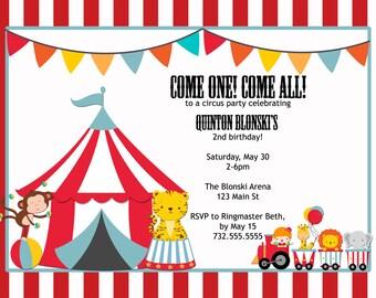 circus theme printable birthday invitation, 5x7, do it yourself
