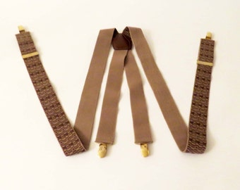 Vintage CAS Woven TAN Elastic SUSPENDERS or Braces With Brass Accents / Made in W. Germany / Excellent Birthday - Christmas  Birthday Gift!