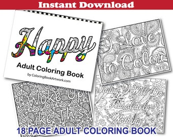 Happy Adult Coloring Book with Whimsical Words and Sayings download instantly Printable Adult Coloring Book JPG and PDF files and book