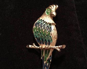 Vtg, goldtone parrot brooch, enamel brooch, brooch and  pendant, bird brooch, bird pin, parrot pin, costume jewelry