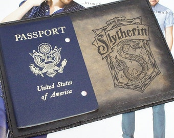 Passport Leather Cover - Slytherin- Customizable - Free Personalization