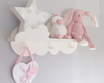 Nursery cloud shelf painted annie sloan pure white with 3 pegs 50cms wide new