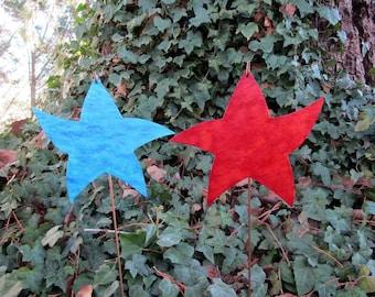 "Metal Star Garden Art Stakes Red Turquoise Stars Yard Decor Recycled Metal Valentine Wedding Anniversary 8"" x 8"""